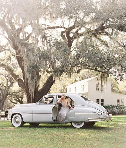 Bride in 1950 Packard