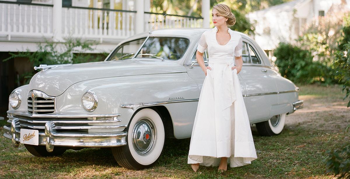 Bride in front of 1950 Packard