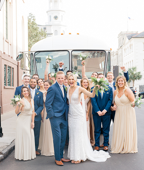 Wedding Party in front of bus