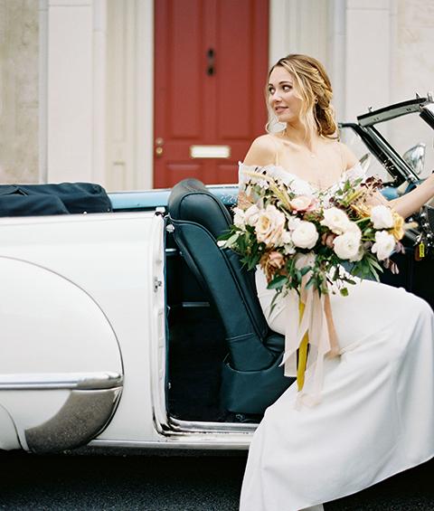 Bride in 1949 Oldsmobile