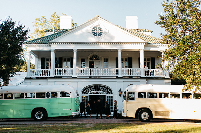 Buses in front of wedding venue