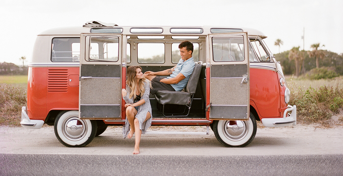 Couple in VW Bus