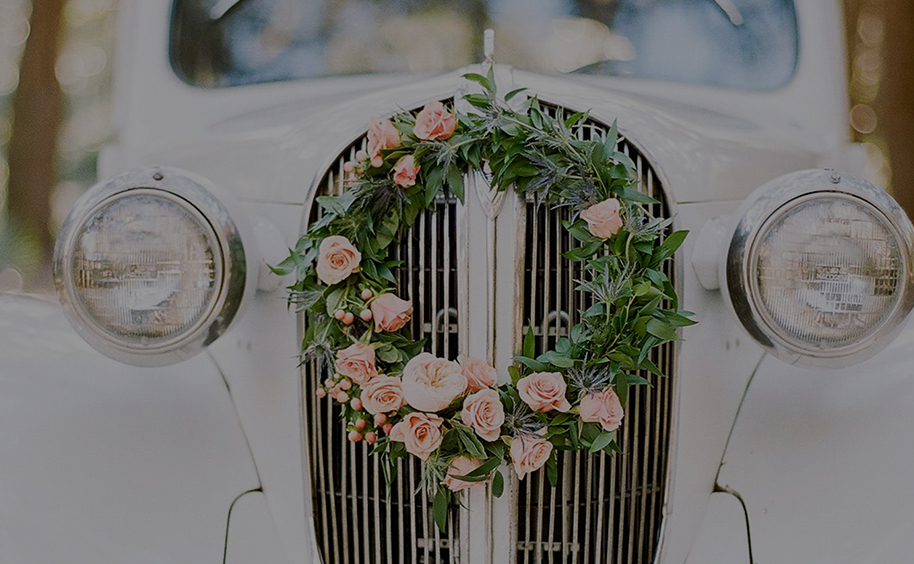 Car with Wreath on the Front