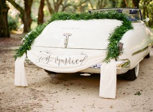 Car with just married sign